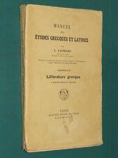 Manuel des études grecques et latines L. DAURAND Fasc. II littérature grecque