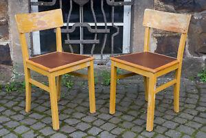 alter Stuhl, hellbraune Holz Küchenstühle, vintage shabby chic, 30er-50er Jahre