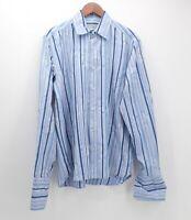 Ted Baker London Men's Size 5 (XL) light blue striped dress shirt French Cuffs