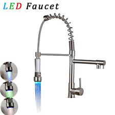 Brushed Nickel Kitchen Faucet LED Light Pull Out Sprayer Swivel Spout Mixer Tap
