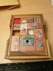 SiamMandalay Football Game: Wooden Sliding Block Puzzle Game, (Missing Ball)