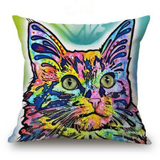 Colorful Dogs & Cat Cotton Linen Throw Pillow Case Sofa Waist Cushion Cover Gift #21