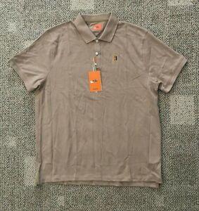 Mens XL Slim Fit Nike Court Short Sleeve Heritage Tennis Polo Shirt Tan BQ4461