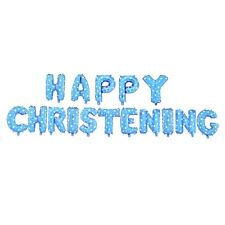 Boys Christening Decorations Foil Balloons Blue Wall Banner Baby Shower Party UK