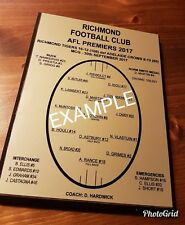Richmond Tigers 2017 Premiers Plaque with Timber Hangable Backing Board.