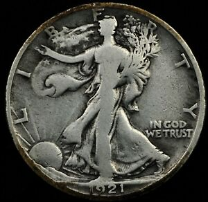 RARE KEY DATE CIRC DETAILS 1921-D WALKING LIBERTY HALF DOLLAR. SELLING WHOLE SET