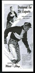 1952 White Stag ski fashion pants jacket classic skiing art vintage print ad