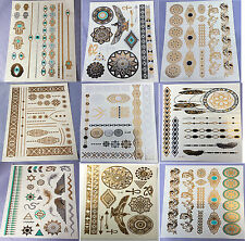 9 Sheets Temporary Disposable Metallic Tattoo Gold Silver Black Flash Tattoos KZ