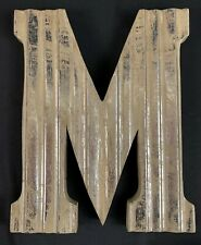 """Letter M Wood and Distressed Silver Large 16"""" Letter M"""