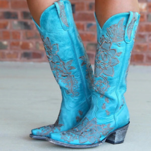 Women Chunky Faux Leather Floral Embroidered Mid Calf Cowboy Boots Shoes Casual