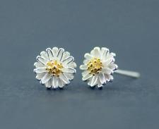 S925 Sterling Silver Flower Daisy Sunflower Stud Earrings