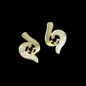 STYLISH Solid 9K 375 Yellow & White Gold Ruby & Diamond Accent Stud Earrings