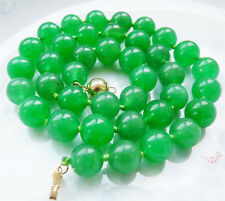 "Beautiful 10MM Green Jade Natural Gemstones Round Beads Necklace 18"""