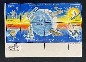 US Stamps, Scott #1912-19 Zip/Copyright block of 8 18c 1981 XF/Superb M/NH fresh