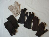 Lot of 4 Vintage Pair Women's Cloth Gloves Size 6 - 6 1/6 Brown / Tan