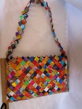 Handmade Candy Wrappers Woven Purse Shoulder Bag Multi Color Recycled Unique