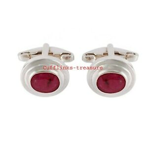 Natural Ruby Gemstone With 925 Sterling Silver Cufflinks For Men's