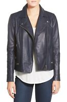 Leather Jacket Women Navy Blue Biker Motorcycle Pure Lambskin Size S M L XL XXL