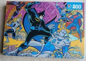 "1997 New ~ BATMAN and ROBIN Glitter PUZZLE ~ 200 pieces(12"" x 16"") MB 4773-3"