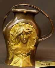 A 1900 très rare vase bronze Art nouveau signé LOUCHET 13cm770g  visage fleur