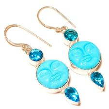 Carved Moon Face with Blue Topaz Gems silver plated Handmade Celestial Earrings