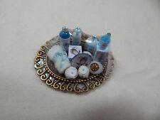 Dollhouse Miniature 1:12 Scale Vanity Tray Lotion Perfume Bottles #Z301 Blue