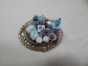 Xmas Dollhouse Miniature 1:12 Scale Vanity Tray Lotion Perfume Bottle #Z301 Blue