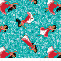 Disney Elena of Avalor Poses in Bali Teal Camelot 100% cotton Fabric Remnant 26""
