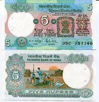INDIA 5 RUPEES P 80 P SIGN 85 UNC W/H
