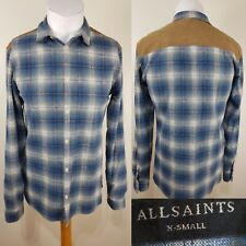 All Saints Men's Blue Brown Checked Flannel Shirt Size XS Western Lumberjack