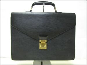 Auth KAY06 LOUIS VUITTON Epi Serviette Conseille M54422 Business Bag Material Ag