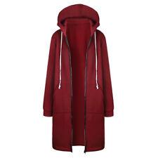 Plus Size Warm Womens Zip Up Open Hooded Long Sleeve Hoodies Coats Tops Jacket