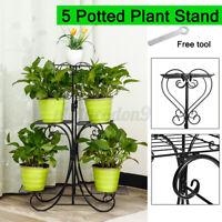 5 Tier Metal Plant Stand Flower Pot Holder Self Rack Display Patio Garden Decor