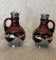 "Farber Bros Amethyst Purple Art Deco 3 1/2"" Glass Salt And Pepper Shakers"
