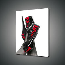 SEXY FETISH RED AND BLACK LACES SHOES CANVAS PRINT WALL ART PICTURE PHOTO