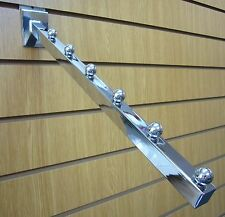 6 Ball Waterfall Arm for Slatwall Chrome Finish