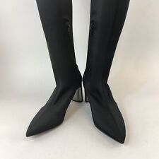 Zara Woman 37 UK4 Black Satin Fabric Elasticated Stretch Over The Knee Boots