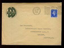 GB KG6 1939 DEAN + DAWSON TRAVEL AGENTS ADVERT ENVELOPE + PERFIN to SWITZERLAND