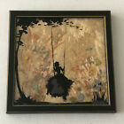 Antique Silhouette Glass Art Painting with Silk Background Woman on Swing