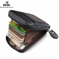 New Men Leather Wallet Zipper Credit Card Holder Rfid Blocking Unisex Pocket Bag