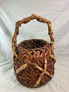 Antique Japanese bamboo flower basket ikebana