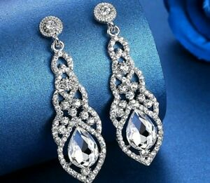 Crystal Simulated Diamond Silver Gold Drop Earrings Wedding Party Jewellery