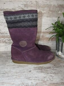 Clarks Girls Purple Suede Knit  Boots Snow Winter Lined Boots Size 2.5