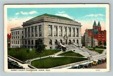 Akron OH, Historic Summit County Courthouse, Vintage Ohio c1929 Postcard