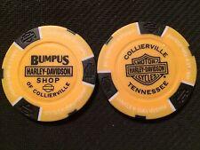 "Harley Ball Marker Poker Chip (Yellow & Black) ""Bumpus Shop"" Collierville,TN."