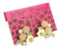 Betsey Johnson Crystal Flower Stud Earrings US Seller Fashion Jewelry