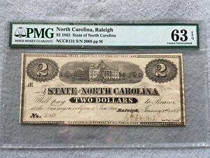 1863 State of North Carolina, Raleigh $2 Two Dollars PMG Certified