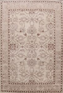 Ivory Floral Traditional Oriental Area Rug Hand-Tufted Wool All-Over Carpet 8x11