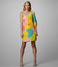 LILLY PULITZER Teresa Silk sequin One-Shoulder floral pink yellow dress 0 $298