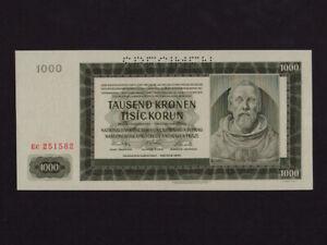 Bohemia & Moravia:P-15s,1000 Kronen/Korun,1942* Specimen * Peter Parler * AU-UNC